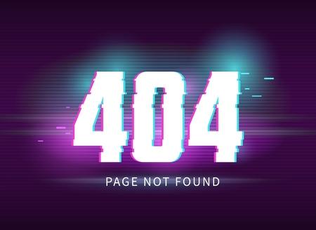 Ilustracja koncepcja strony 404 z efektem usterki. Cyfrowa ilustracja wektorowa