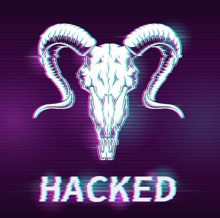 Hacking concept illustration with glitch effect. Vector digital illustration