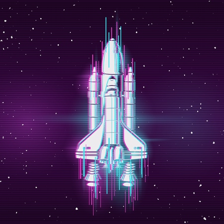 Concept image with glitch effect and space shuttle. Vector illustration