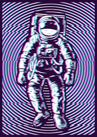 Ilustración de concepto con efecto de falla y astronauta. Imagen vectorial
