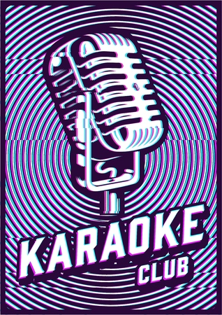 Karaoke concept illustration with glitch effect. Vector image  イラスト・ベクター素材