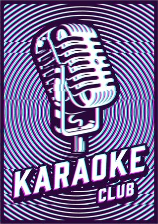 Karaoke concept illustration with glitch effect. Vector image Illustration