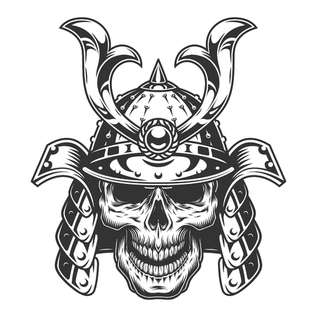 Skull in samurai helmet, Illustration