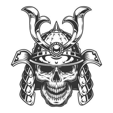 Skull in samurai helmet, Ilustrace