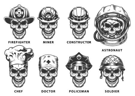 Zestaw czaszki Ilustracje wektorowe