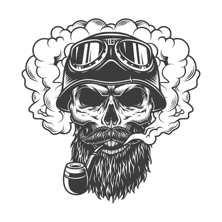 Skull in smoke cloud