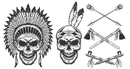 Set of skull in indian headwear Vectores