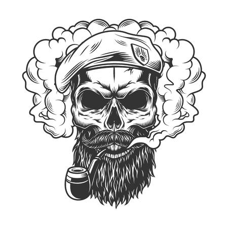Skull in smoke cloud Ilustração Vetorial