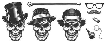 Set of gentlemen skulls