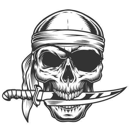 Skull with knife 免版税图像 - 108111635