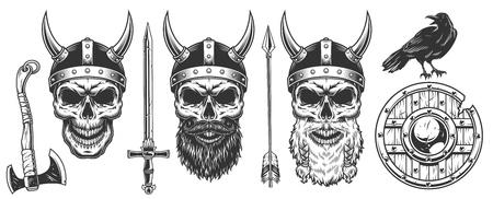 Set of viking warriors Illustration