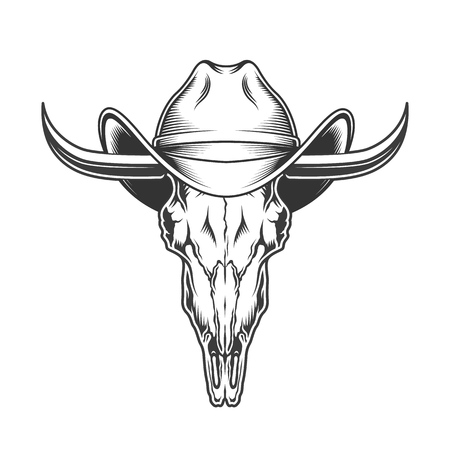 goat skull with horns and cowboy hat Stock Illustratie
