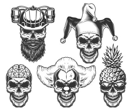 Zestaw czaszki w zabawnym nakryciu głowy Ilustracje wektorowe
