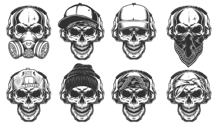 Set of hipster skulls Stock Illustratie