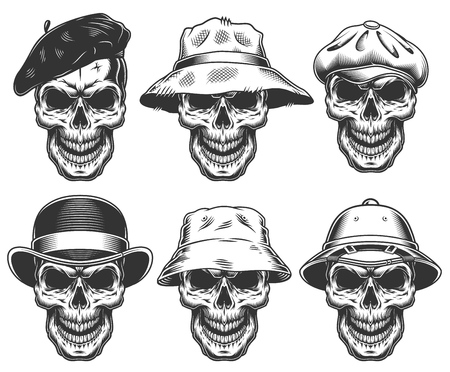 Set of skulls in the hats Archivio Fotografico - 108111645