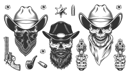 Set of cowboys Ilustrace