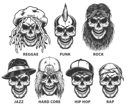 Set of subculture skulls