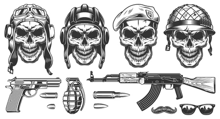 Set of millitary skulls Vectores
