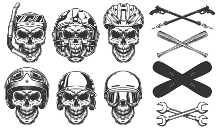 Set of skull in sport equipment 스톡 콘텐츠