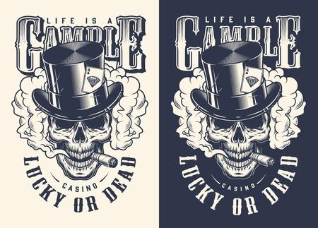 Schädel Casino Konzept T-Shirt Druck