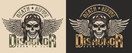 Schädel im Piloten-Retro-Helm-T-Shirt-Druckkonzept. Vektor-Illustration