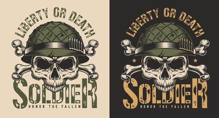 Czaszka w koncepcji druku t-shirt żołnierza hełmu Ilustracje wektorowe