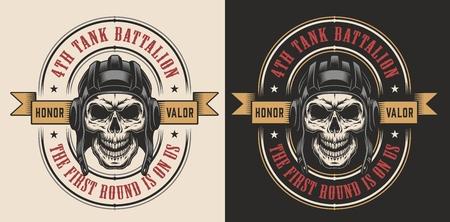 cráneo en el casco militar del ejército