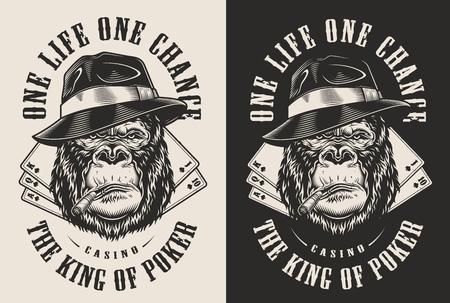 T-Shirt Druck mit Gangster Gorilla Konzept in Fedorahut. Vektorillustration Vektorgrafik