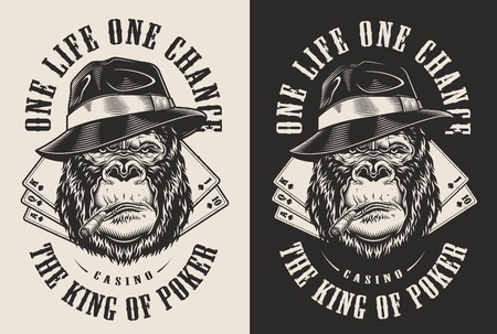 T-shirt stampata con concetto di gorilla gangster in cappello fedora. Illustrazione vettoriale Vettoriali