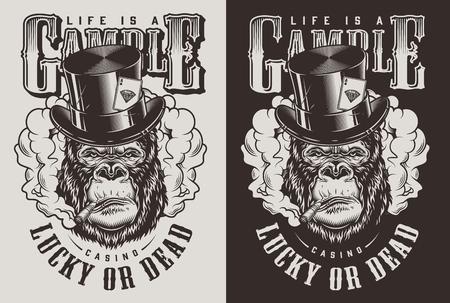 T-shirt print with gorilla in top hat, casino concept. Vector illustration Illusztráció