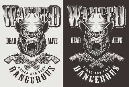 T-shirt imprimé avec concept cowboy gorille. Illustration vectorielle