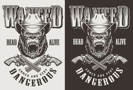 T-shirt print with gorilla cowboy concept. Vector illustration Archivio Fotografico - 108098095