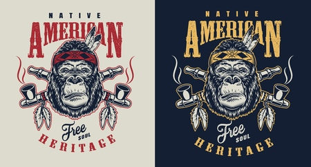 T-shirt print with gorilla concept in tribal culture style. Vector illustration Reklamní fotografie - 108098096
