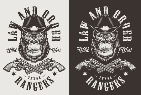 T-shirt print with gorilla sheriff concept. Vector illustration 写真素材 - 108098097