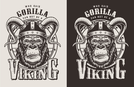 T-shirt print with gorilla viking concept. Vector illustration