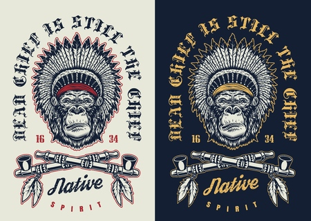 T-shirt print with gorilla concept in tribal culture style. Vector illustration Çizim