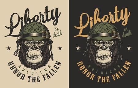 T-shirt print with gorilla soldier concept. Vector illustration Illustration