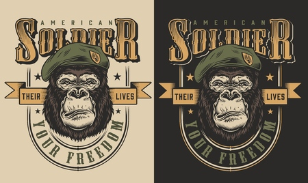 T-shirt print with gorilla soldier concept. Vector illustration Illustration