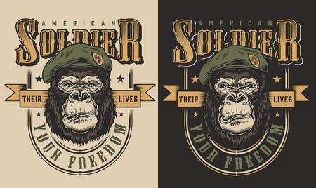 T-shirt print met gorilla soldaat concept. Vector illustratie