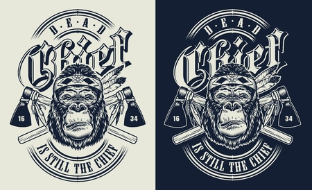 T-shirt print with gorilla concept in tribal culture style. Vector illustration Vettoriali
