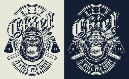 T-shirt stampata con il concetto di gorilla in stile cultura tribale. Illustrazione vettoriale Vettoriali