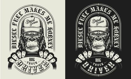 T-shirt print with gorilla concept truck driver. Vector illustration
