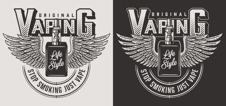 Vaping apparel design with vapor. Vector illustration Иллюстрация