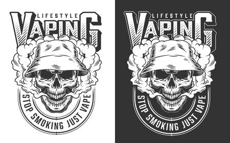 Vaping apparel design with skull. Vector illustration