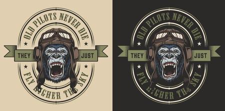 Apparel design with gorilla pilot. Vector illustration