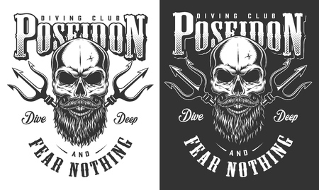 Diving apparel design. Posedon concept. Vector illustration Ilustracja