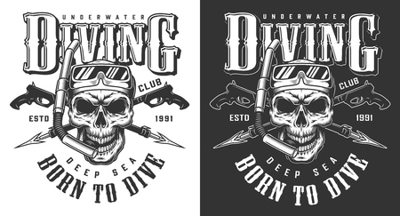 Tauchbekleidungsdesign mit Schädel und Unterwasserpistole. Vektorillustration