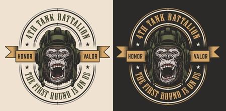 Apparel design with gorilla tankman. Vector illustration