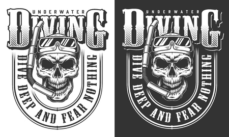 Diving apparel design with skull in the diving mask. Vector illustration