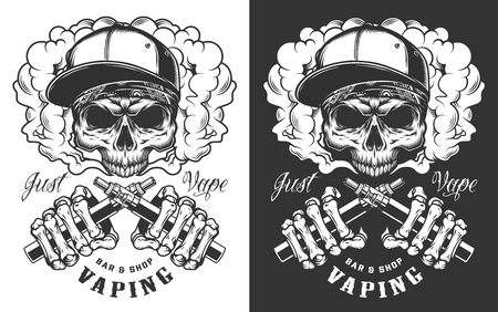 Vaping apparel design with skull. Vector illustration Reklamní fotografie - 108192597